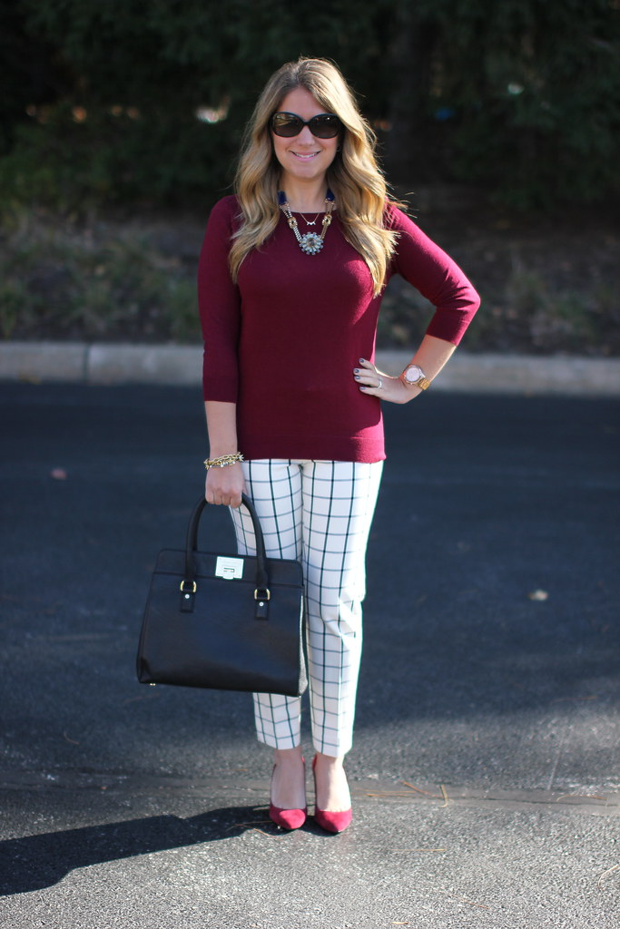 Banana Republic Sloan Windowpane grid print pants outfit