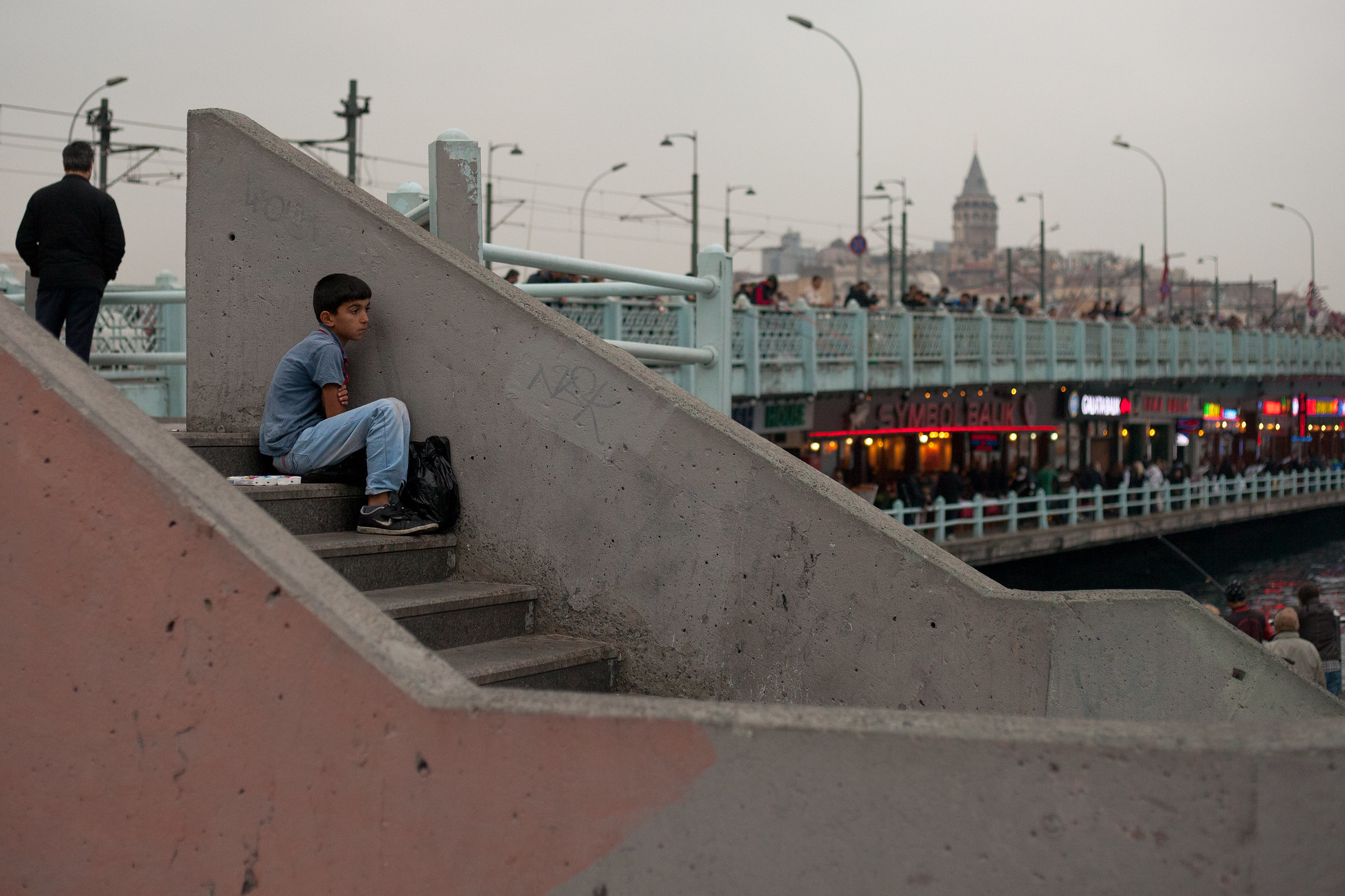 Boy selling tissues, Galata Bridge.