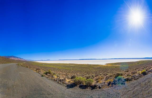 Burning sun over Oregon's Alvord Desert