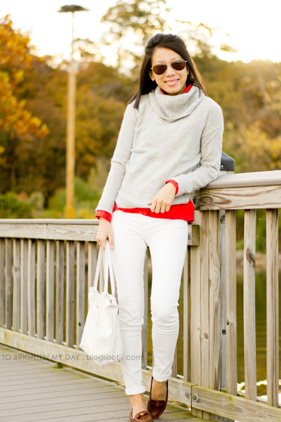 gray cowlneck sweater, red shirt, white jeans, brown loafers
