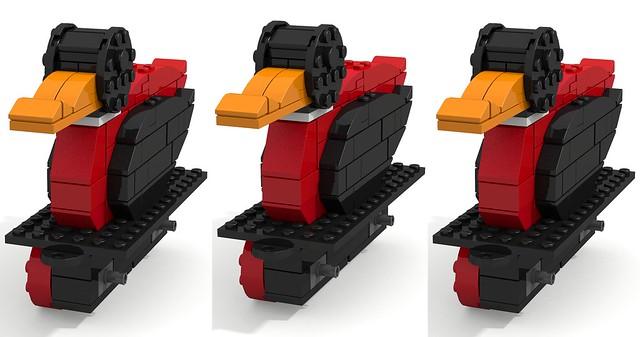 Lego stereo 3D (use duck #1&#2 for parallel eye) (2&3 cross eye) LDD2povray rendering