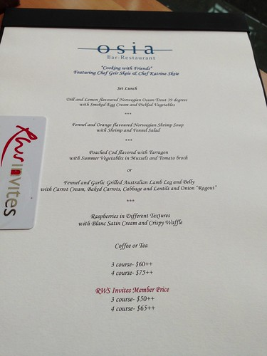 """Cooking with Friends"" featuring Chef Geir Skeie & Chef Katrine Skeie at Osia, Resorts World Sentosa."