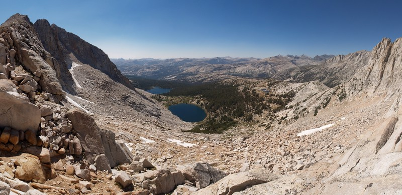 Looking west from the other pass just SE of Don't be a Smart Pass, down to the Lower McCabe Lakes