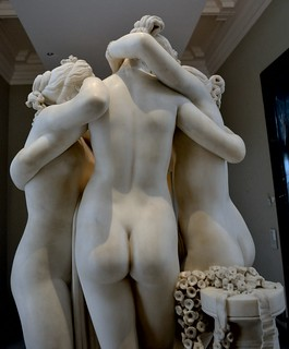Antonio Canova (1757-1822) - The Three Graces, Woburn Abbey version (1814-1817) back thighs upward, Victoria and Albert Museum, April 2013