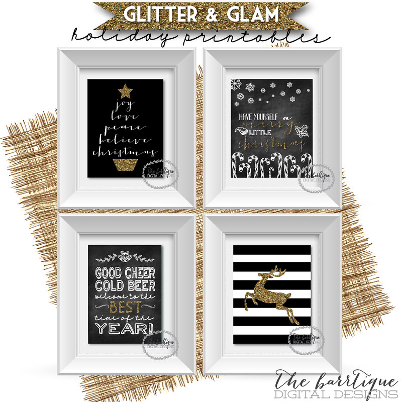 Glitter & Glam Holiday Glitter/Chalkboard digital printables by The Barrtique