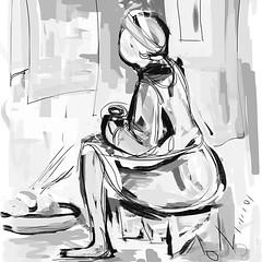 sketch(0.0), manga(0.0), fashion illustration(0.0), cartoon(0.0), figure drawing(1.0), monochrome photography(1.0), drawing(1.0), monochrome(1.0), illustration(1.0), black-and-white(1.0),