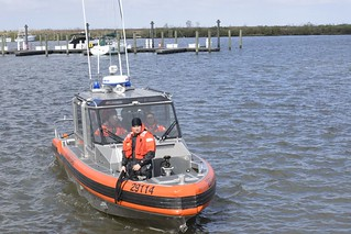 Coast Guard students of the boat crew college come back from getting a experience of rough waves on a 29-foot response boat small at Coast Guard Station New Orleans, Dec. 9, 2013. The primary objective of the boat crew college is to enable personnel within the 8th District area of responsibility to get the Coast Guard Boatcrew qualification. (U.S. Coast Guard photo by Petty Officer 3rd Class Carlos Vega.)