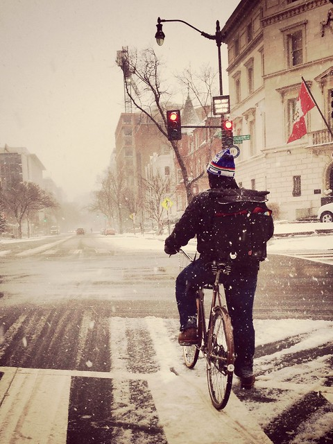 Snow biker on 17th St