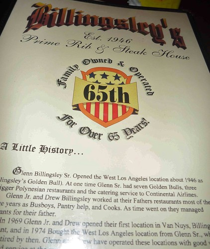 Billingsley's Restaurant Los Angeles CA Menu History