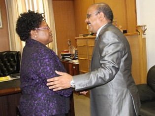 Republic of Zimbabwe Vice-President Joice Mujuru welcomes Mohamed Cheij Saleh, Ambassador to Zimbabwe from the Saharawi Arab Democratic Republic (SADR). by Pan-African News Wire File Photos