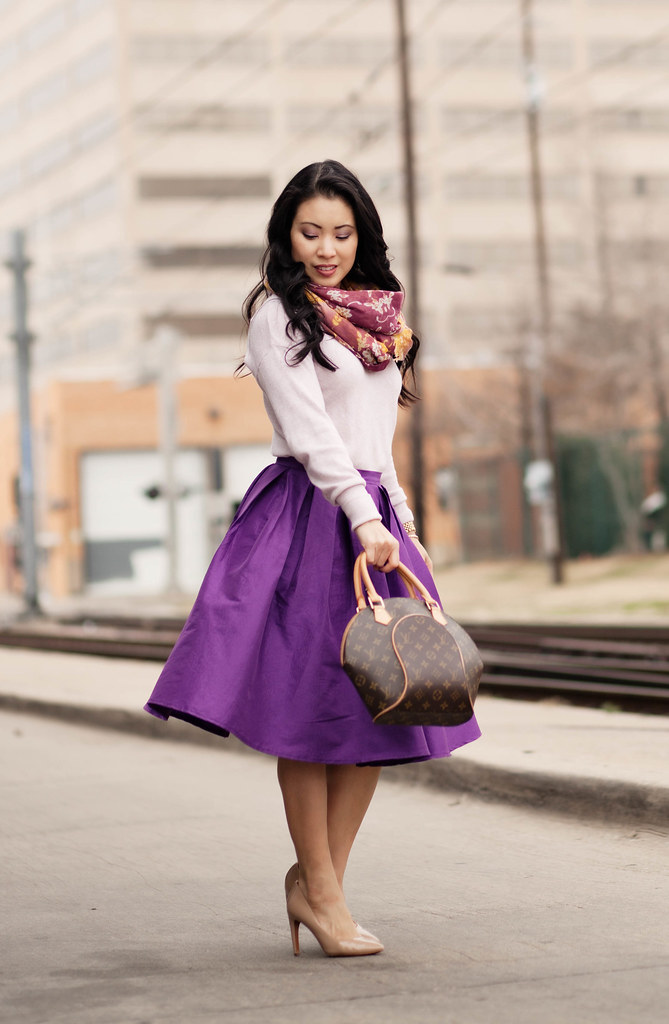 cute & little blog | floral scarf, pink sweater, chicwish full purple midi skirt, louis vuitton ellipse | spring colors outfit