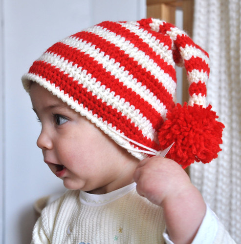 Bonnet de lutin rouge et blanc - Red and white Pom-pom Beanie