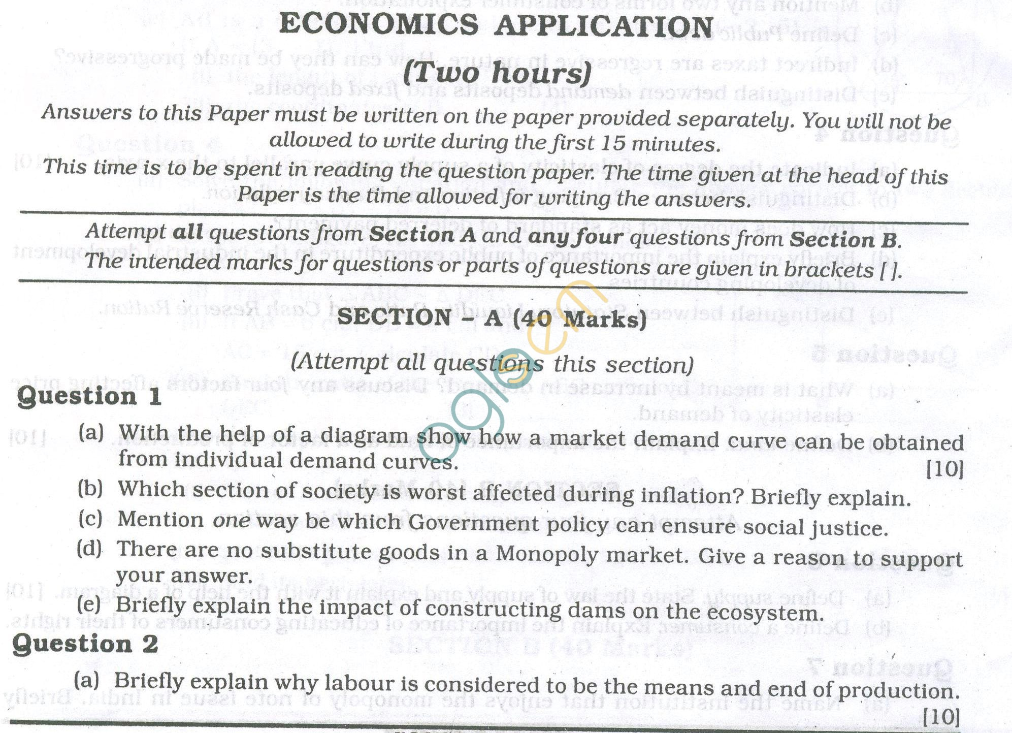 ICSE Question Papers 2013 for Class 10 - Economic Applications
