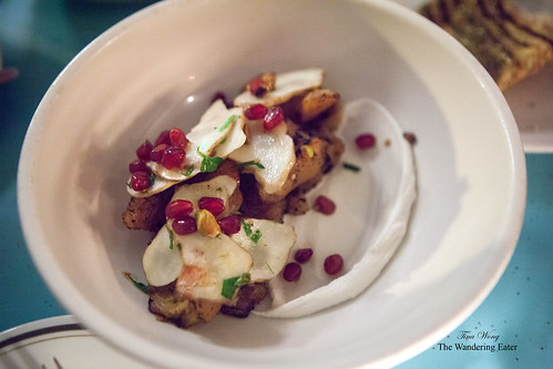 Beets with sunchokes, macadamia nut & pomegranate