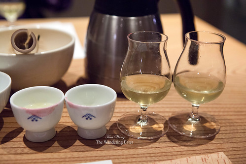 My line up (and sipped) cups and glasses of Sencha and Gyokuro teas
