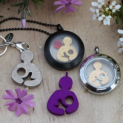 Breastfeeding Jewelry - Mother's Day - Phlox and Pendants, Origami Owl Charms and Plates - Cropped - Square