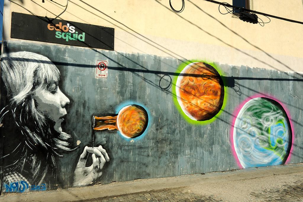 Blowing Planets - Mural - Street Art Richmond VA