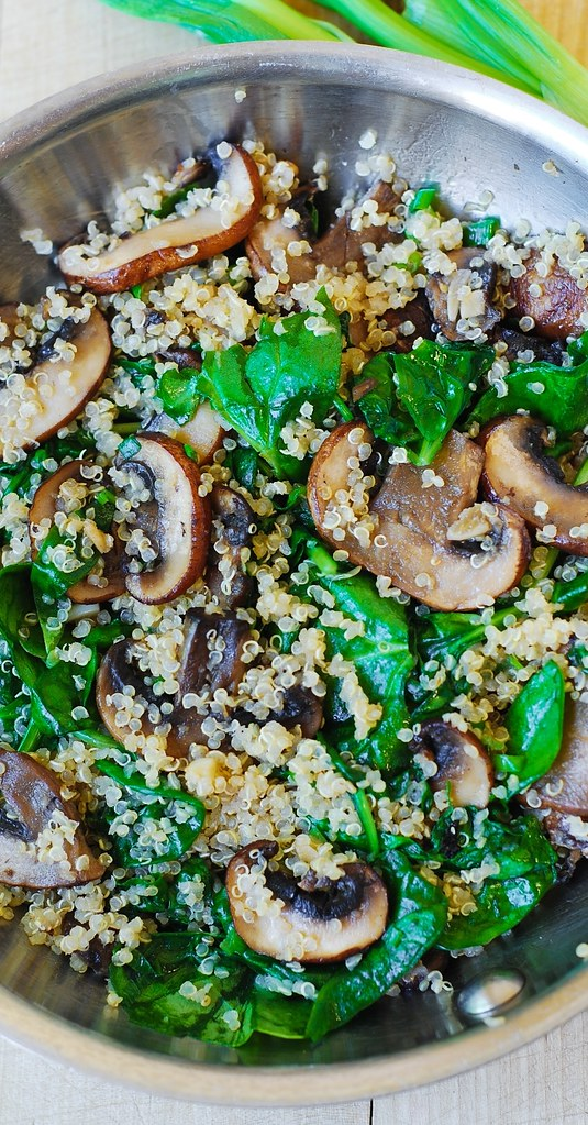 Spinach and mushroom quinoa sauteed in garlic and olive oil.