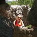 Brenda through the rocks