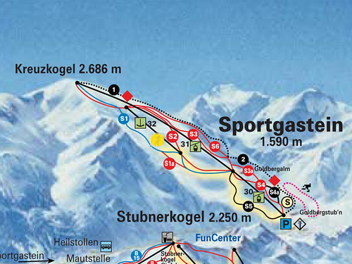 Sportgastein - mapa sjezdovek