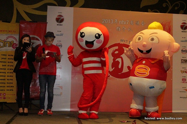 YUAN Carnival mascot YUAN2 and 8TV baby' Pow Pow