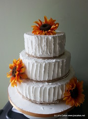Rustic Sunflowers 3 Tier Wedding Cake
