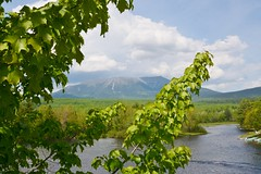 On the Golden Road Looking North at Mount Katahdin. I am by the West Branch of the Penobscot River. There is a patch of snow near the peak in late May.