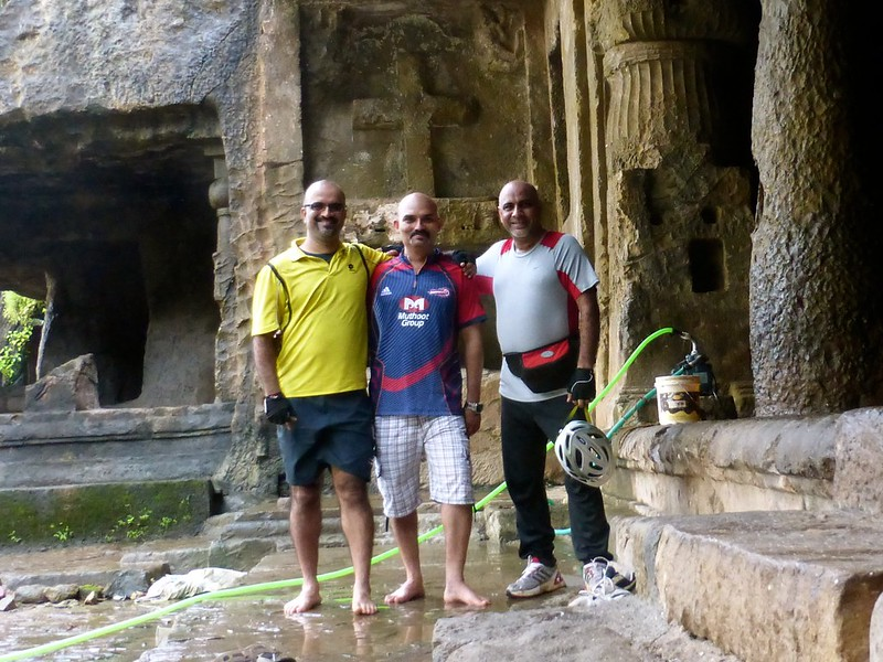 Mandapeshwar Caves - Three bald cyclists