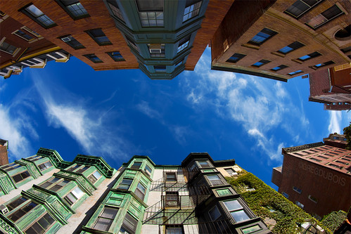 Beacon Hill Neighborhood Boston, Wide Angle Look Up at Blue Sky by Greg DuBois Photo