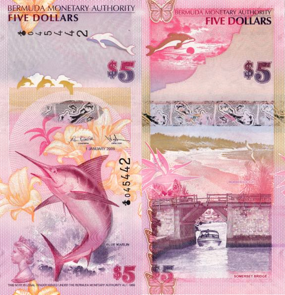 5 dolárov Bermudy 2009, Pick 58