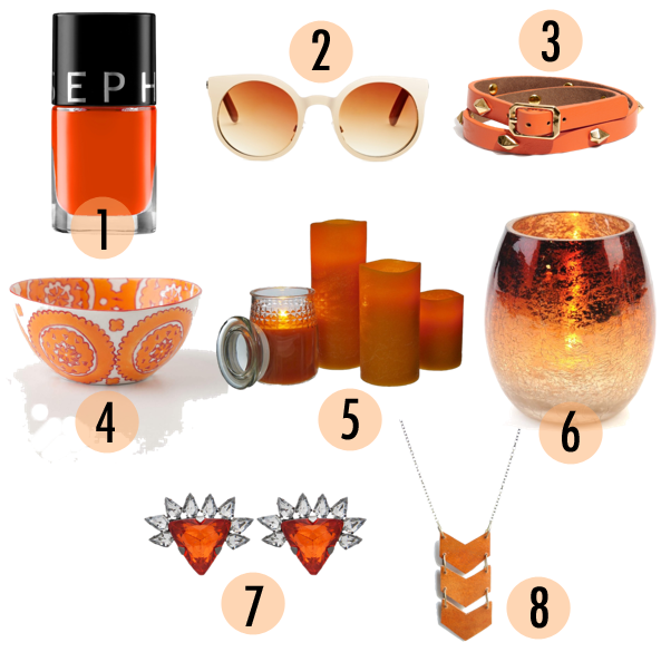orange, orange gift ideas, gift ideas 2013, holiday gift ideas, sephora nail polish, orange candle votives, mercury glass, jewelry gift ideas