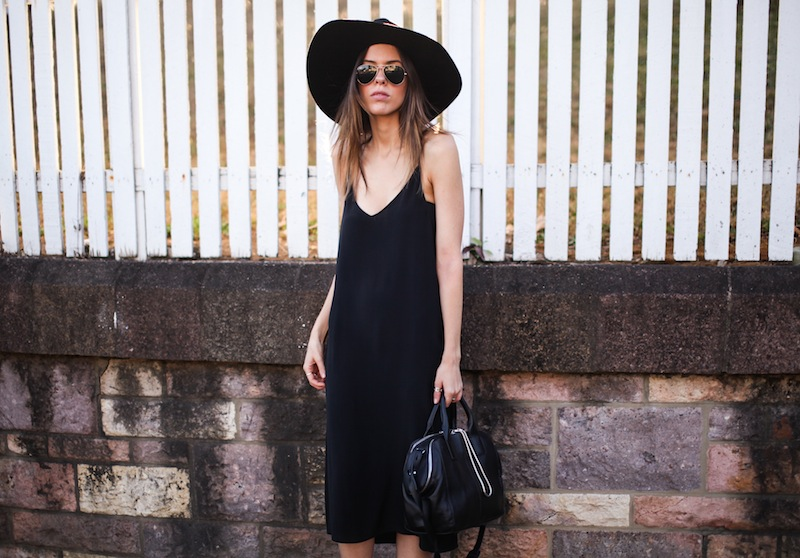 modern legacy fashion blog ysl hat wide brim topshop silk cami slip dress street style inspo details monochrome trend vera xane black white birkenstock (8 of 9)