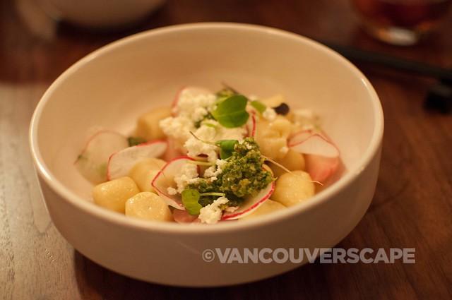 PiDGiN's Parisienne gnocchi, radishes, radish green pistou, buttermilk ricotta