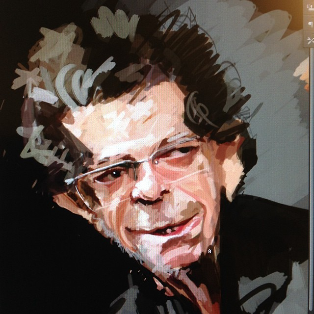 Working on Lou Reed caricature