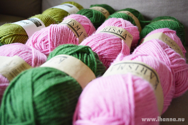 Pink and Green Wool