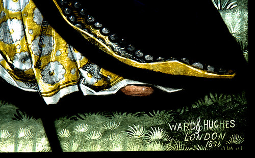 Brewood, Staffordshire, Church of St. Mary & St. Chad, stained glass window, detail