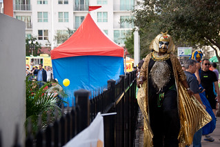 Man in Gold Costume at Miami Book Fair International 2013