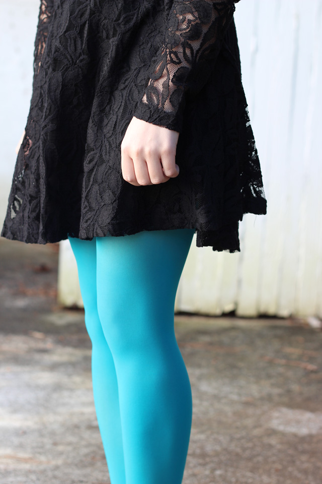 Black Lace Dress and Neon Blue Tights