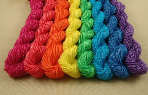 rainbow sparkle mini skeins