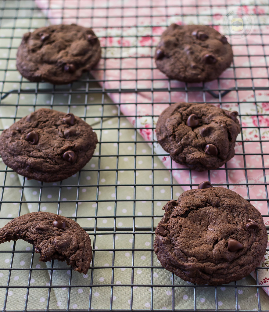 Espresso Double Chocolate Chip Cookies On Cooling Rack