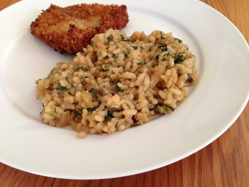 caramelized onion spinach risotto