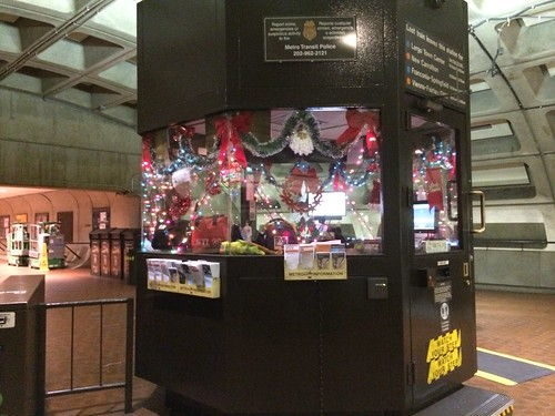 Decorated station manager booth, Farragut West Metro station
