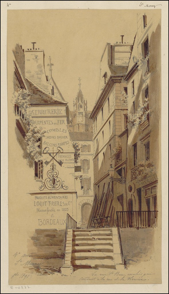 watercolour & pen sketch of 19th century Parisian street vista with stairway & commercial buildings
