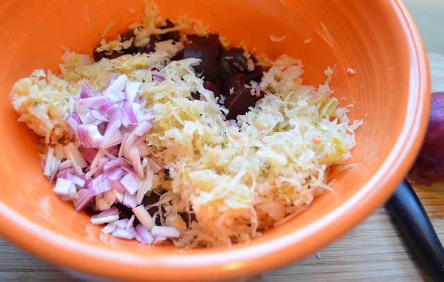 Making Creamy Beets & Sauerkraut Salad