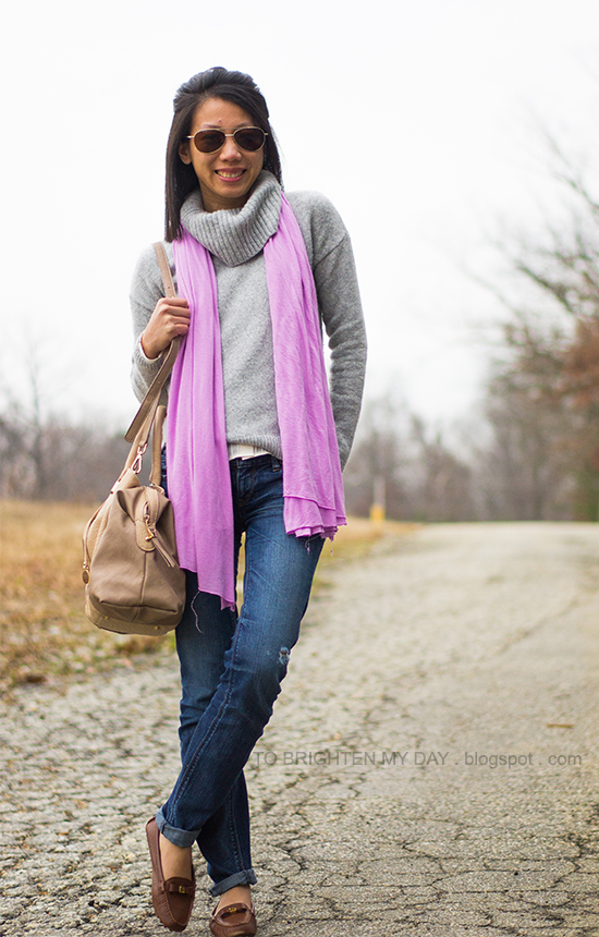 lilac scarf, gray cowlneck sweater, brown loafers