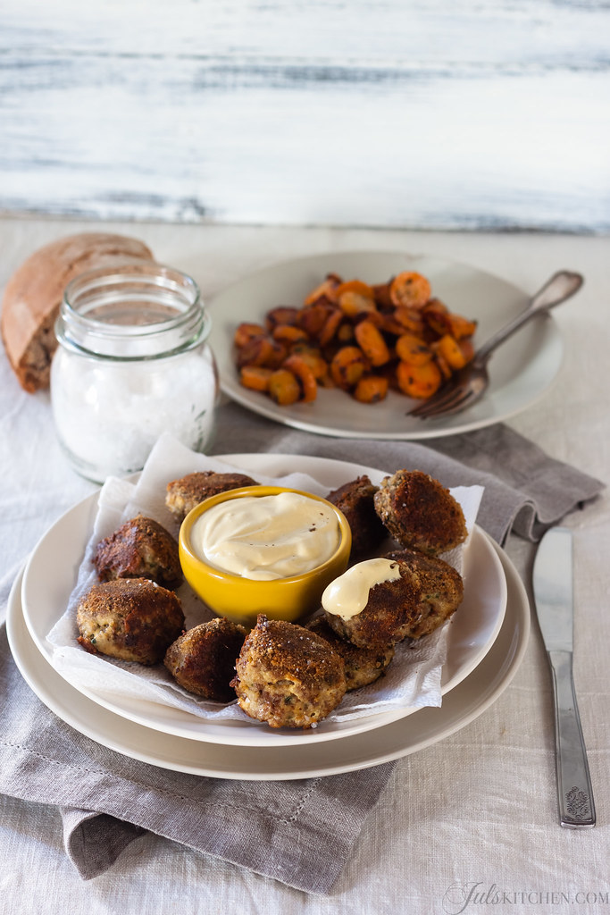 Cheek and tongue meatballs with mustard glazed carrots