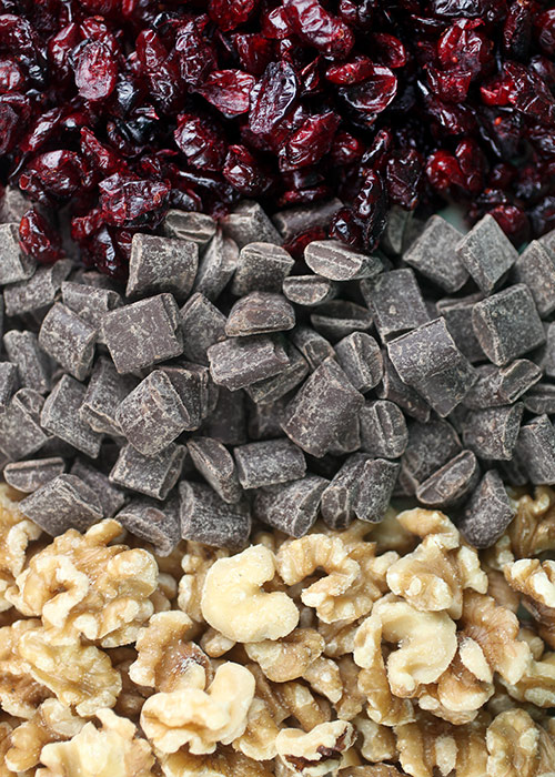 Cranberries, chocolate and walnuts