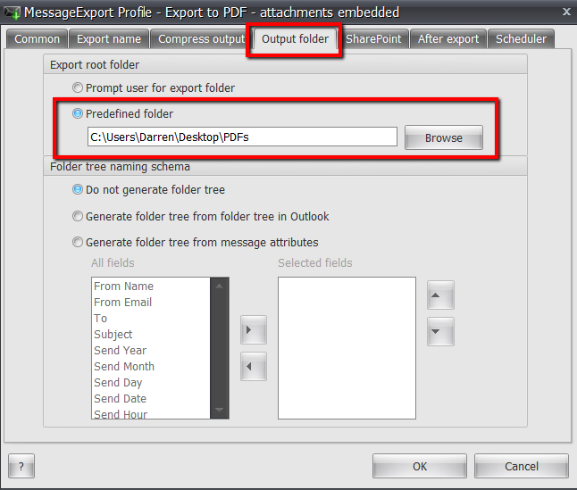 Screenshot of the MessageExport Output Folder tab, where you can select a target folder to hold the exported PDF files.