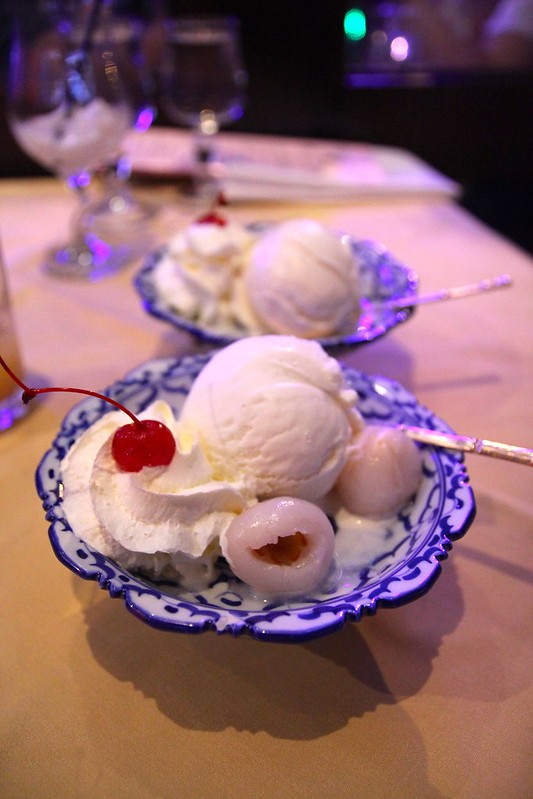 Ice-cream with lychees
