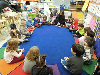 Pre-k students at PS 261 start their day with circle time.